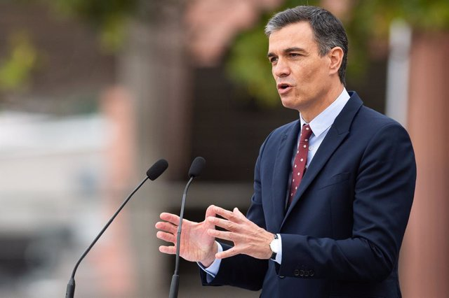 09 June 2021, Argentina, Buenos Aires: Spanish Prime Minister Pedro Sanchez Speaks during a joint press conference with Argentine President Alberto Fernandez at the Argentine Government House. Photo: Manuel Cortina/SOPA Images via ZUMA Wire/dpa