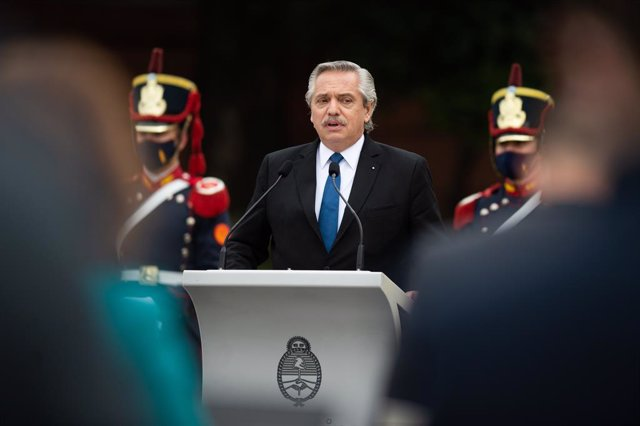 09 June 2021, Argentina, Buenos Aires: Argentine President Alberto Fernandez Speaks during a joint press conference with Spanish Prime Minister Pedro Sanchez at the Argentine Government House. Photo: Manuel Cortina/SOPA Images via ZUMA Wire/dpa