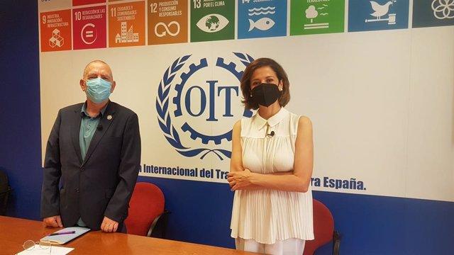 El director de la Oficina de la OIT en España, Joaquín Nieto, y la directora de Sensibilización y Políticas de Infancia de UNICEF España, Carmen Molina.