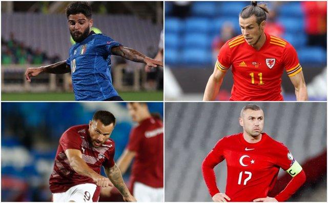 Insigne, Bale, Seferovic y Yilmaz, rivales en la Eurocopa