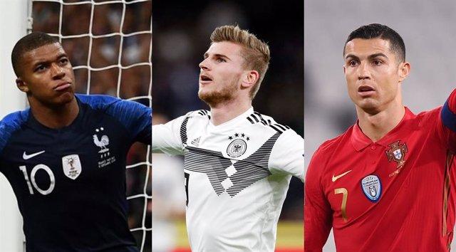 Mbappé, Werner y Cristiano Ronaldo con sus respectivas selecciones