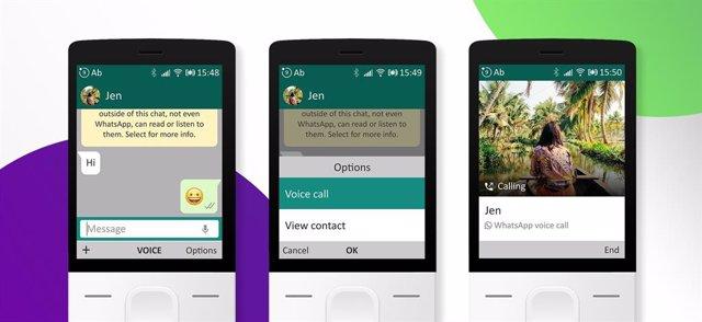 Imagen del nuevo servicio de llamadas de WhatsApp en un dispositivo con KaiOS