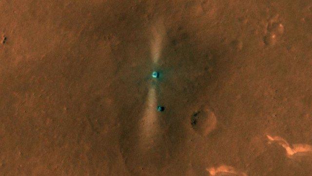 Aterrizador de la misión Tianwen 1 y rover Zhurong sobre Marte