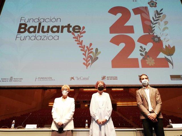 María Antonia Rodríguez, Rebeca Esnaola y Rubén Jauquicoa en la presentación de la temporada 2021/22 de Fundación Baluarte y la Orquesta Sinfónica de Navarra