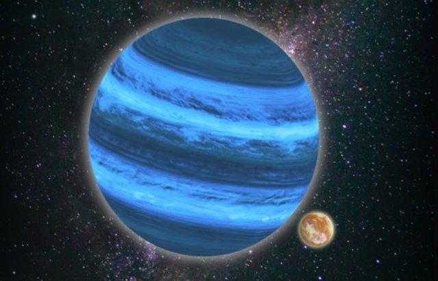 Ilustración de un planeta flotando libremente por el universo con una luna que puede almacenar agua