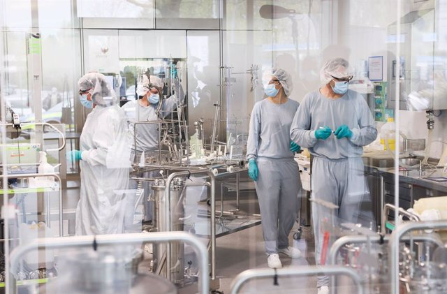 Archivo - 30 April 2021, Schleswig-Holstein, Reinbek: Employees work on the production of BioNTech/Pfizer's Comirnaty vaccine at Allergopharma's production facilities in Reinbek. Around 400 litres of the vaccine are filled in the stainless steel mobile co