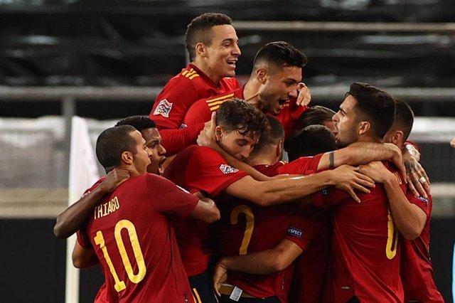 Archivo - Selección española de fútbol contra Alemania