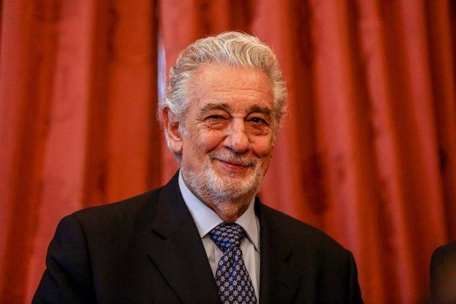 El tenor Plácido Domingo, durante el acto por el que ha recibido el título de 'Embajador Honorario del Patrimonio Mundial de España'