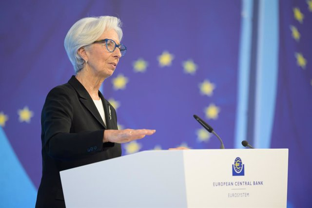 Archivo - HANDOUT - 11 March 2021, Frankfurt: European Central Bank (ECB) President Christine Lagarde speaks during a press conference following the meeting of the Governing Council of the European Central Bank. Photo: Martin Lamberts/ECB/dpa - ATTENTION: