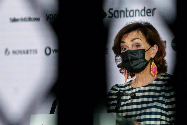La vicepresidenta primera del Gobierno, Carmen Calvo, durante la inauguración del Santander WomenNOW Summit, en la sede de Vocento, a 9 de junio de 2021, en Madrid (España)