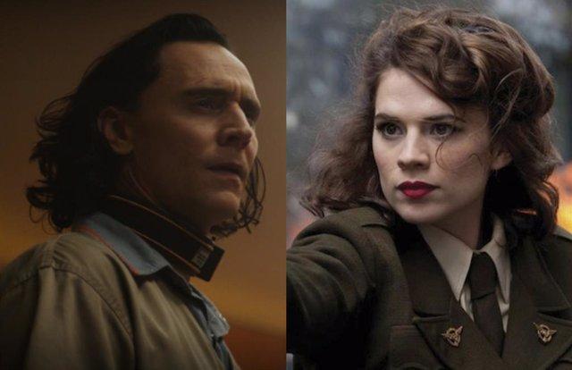 Tom Hiddleston como Loki y Hayley Atwell como Peggy Carter