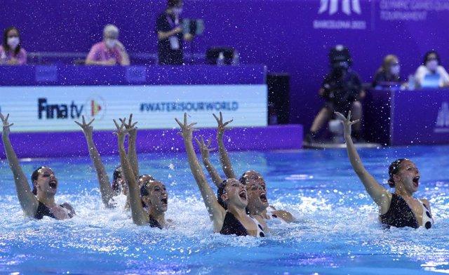 Espanya, durant la Rutina Tècnica d'Equip en el Preolímpico de Barcelona 2021, torneig classificatori per als Jocs Olímpics de Tòquio 2020, que es disputen l'estiu de 2021 en la ciutat nipona