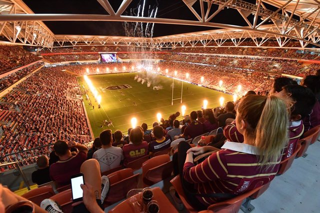 Archivo - A general view of Suncorp Stadium is seen during Game 3 of the 2020 State of Origin series between the New South Wales Blues and the Queensland Maroons at Suncorp Stadium in Brisbane, Wednesday, November 18, 2020. (AAP Image/Darren England) NO A