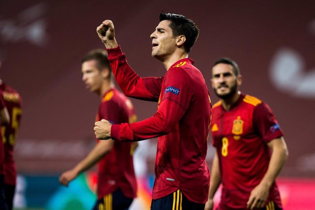 Archivo - Celebrate score of Alvaro Morata of Spain during the UEFA Nations league match between Spain and Germany at the la Cartuja Stadium on November 17, 2020 in Sevilla Spain