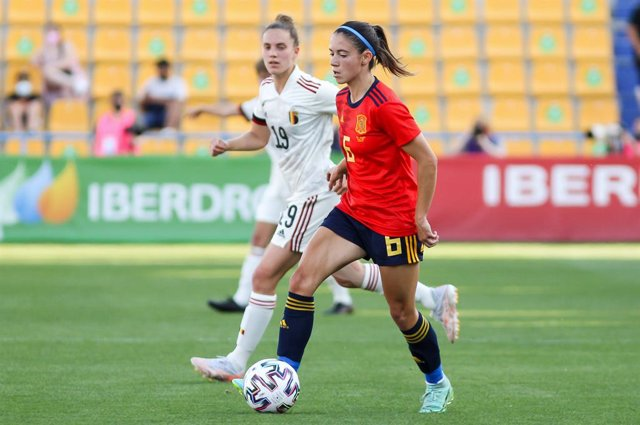 Aitana Bonmati Conca of Spain in action during the women international friendly match played between Spain and Belgium at Santo Domingo stadium on Jun 10, 2021 in Alcorcon, Madrid, Spain.