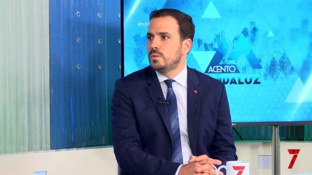 El ministro de Consumo, Alberto Garzón, en una entrevista en 7TV Andalucía.