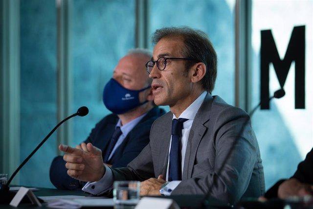 El president del Consell d'Administració de Fira de Barcelona, Pau Relat, durant la presentació de Tomorrow.Mobility.