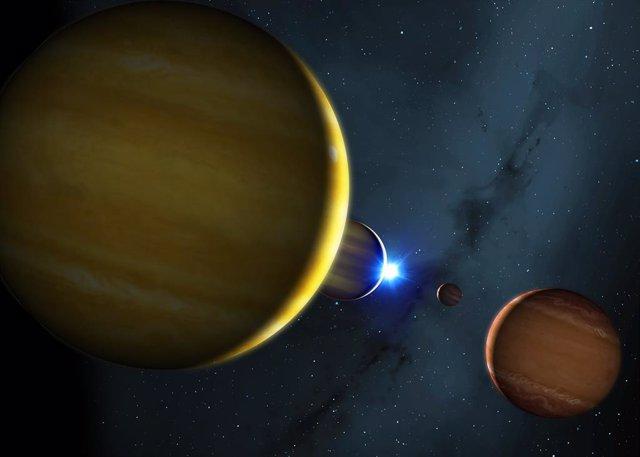 Archivo - Impresión artística de los cuatro planetas del sistema HR 8799 y su estrella