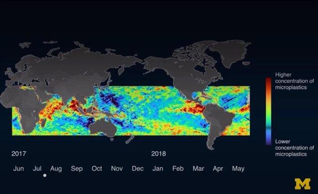 Detección CYGNSS de concentración global de microplásticos en los océanos