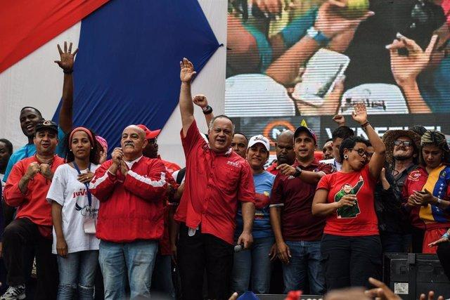Archivo - El primer vicepresidente del Partido Socialista Unido de Venezuela (PSUV), Diosdado Cabello, durante un mitin electoral celebrado en Caracas en 2018.