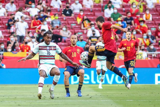 Renato Sanches of Portugal, Thiago Alcantara of Spain and Jose Gaya of Spain in action during the international friendly match played between Spain and Portugal at Wanda Metropolitano stadium on Jun 04, 2021 in Madrid, Spain.