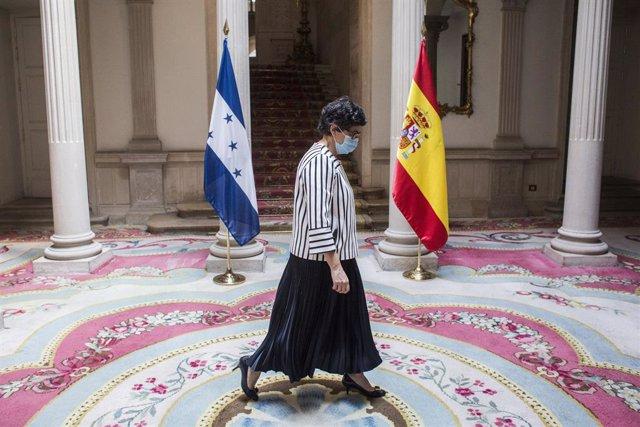 La ministra de Asuntos Exteriores, Unión Europea y Cooperación, Arancha González Laya, a su llegada para recibir a su homólogo hondureño, en el Palacio de Viana, a 28 de mayo de 2021, en Madrid, (España). La reunión se produce días después de la visita qu