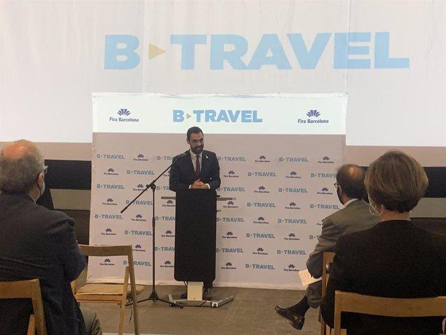 El conseller d'Empresa i Treball de la Generalitat, Roger Torrent, en l'acte inaugural de la nova edició del saló del turisme B-Travel.