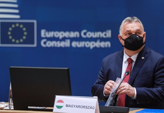 HANDOUT - 25 May 2021, Belgium, Brussels: Hungarian Prime Minister Viktor Orban attends a round table meeting on the second day of a special EU summit. Photo: Zucchi Enzo/EU Council/dpa - ATTENTION: editorial use only and only if the credit mentioned abov