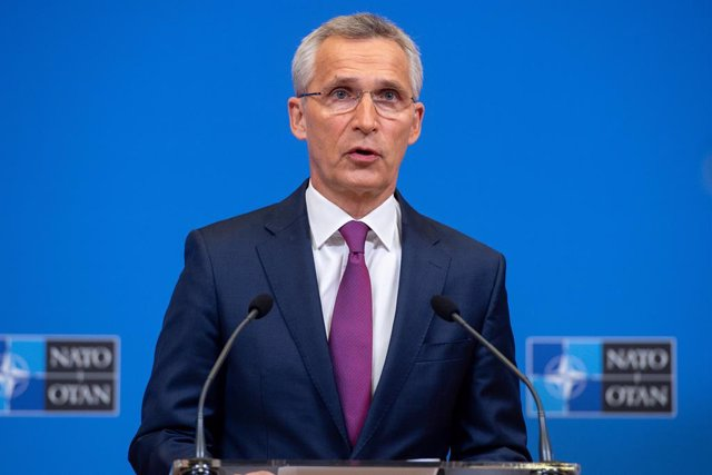 HANDOUT - 01 June 2021, Belgium, Brussels: NATO Secretary-General Jens Stoltenberg holds a press conference following the online NATO Foreign Ministers' North Atlantic Council meeting. Photo: -/NATO/dpa - ATTENTION: editorial use only and only if the cred