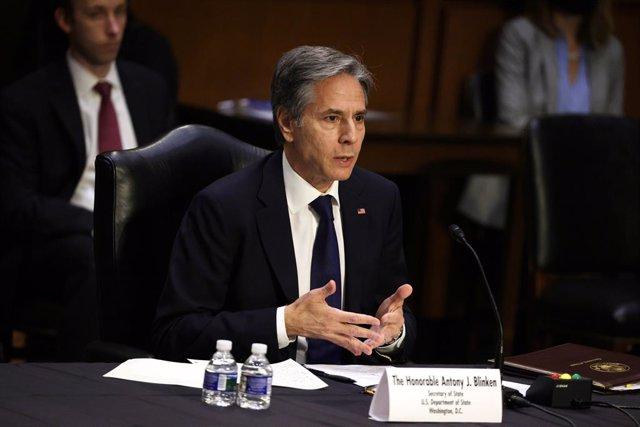 Antony Blinken, secretario de Estado de Estados Unidos comparece en el Senado