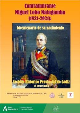 Cartel anunciador del documental sobre 'El contralmirante Miguel Lobo Malagamba'.