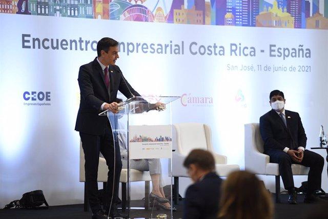 Pedro Sánchez interviene en el encuentro empresarial Costa Rica-España
