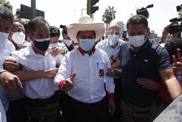 Archivo - El candidato presidencial por Perú Libre, Pedro Castillo.