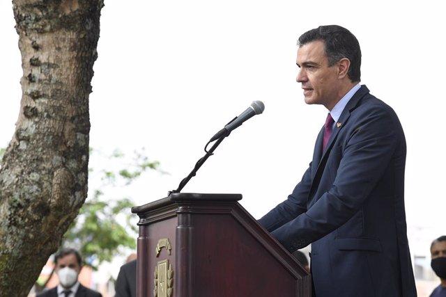 El presidente del Gobierno, Pedro Sánchez, durante su visita a Costa Rica