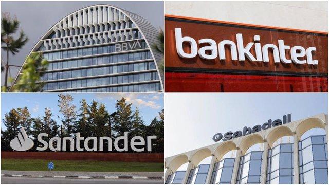 Archivo - Logos de BBVA, Bankinter, Banco Santander y Banco Sabadell