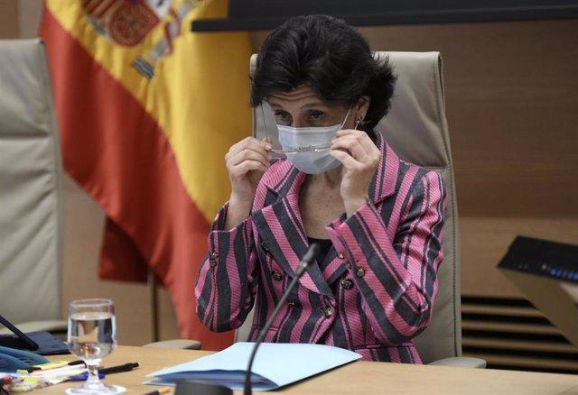 La presidenta del Tribunal de Cuentas, María José de la Fuente y de la Calle, a su llegada a la Comisión Mixta para las Relaciones con el Tribunal de Cuentas,