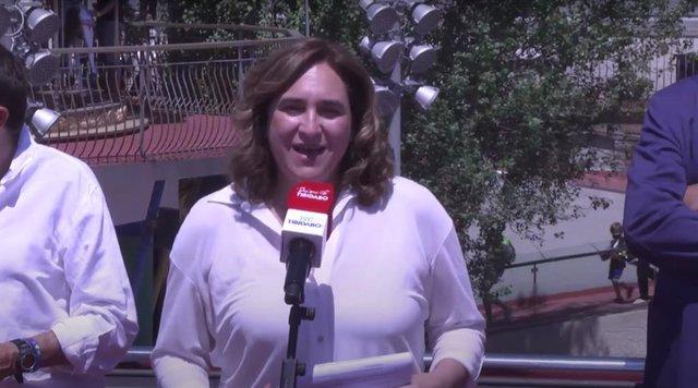 L'alcaldessa de Barcelona, Ada Colau, en declaracions després de la inauguració del nou funicular del Tibidabo, la 'Cuca de Llum'