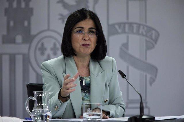 La ministra de Sanidad, Carolina Darias, durante la rueda de prensa posterior al Consejo Interterritorial de Salud