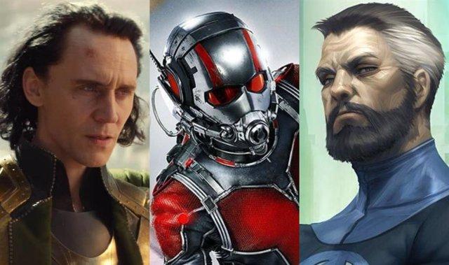 Loki, Ant-Man y Mr. Fantástico, personajes de Marvel