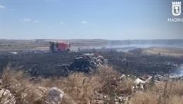 Bomberos trabajan en la extinción de un importante fuego de pastos en Valdemingómez, que no deja heridos