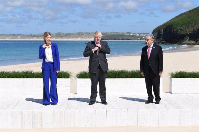 El primer ministro de Reino Unido, Boris Johnson, y el secretario general de la ONU, Antonio Guterres