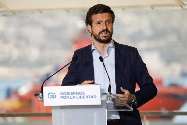 El presidente del PP, Pablo Casado, en la clausura del acto '2 años de Gobiernos por la Libertad'