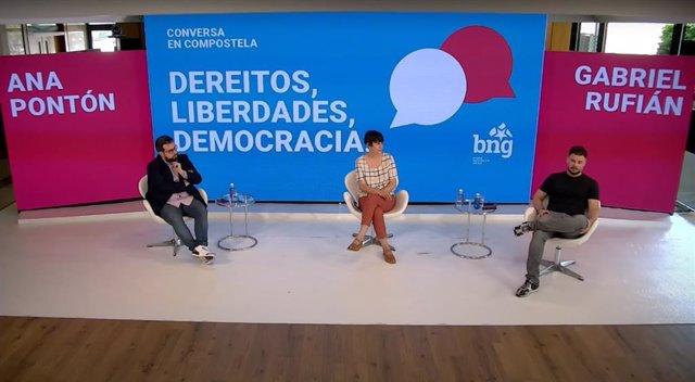 El portaveu d'ERC al Congrés,  Gabriel Rufián, i la portaveu nacional del BNG, Ana Pontón, en la conversa telemàtica 'Drets, llibertats, democràcia'