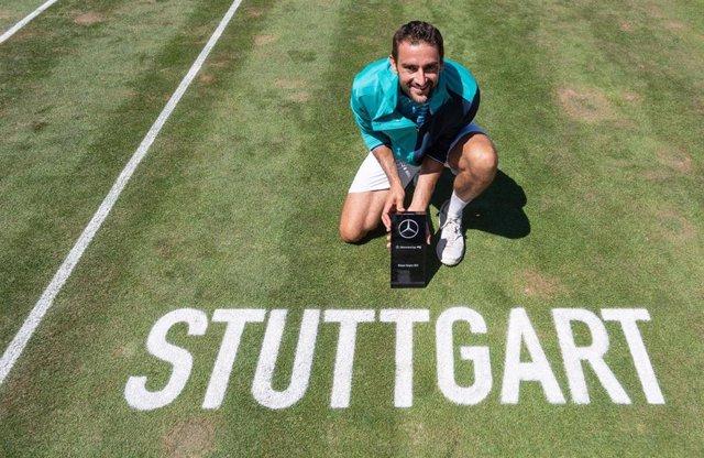 Marin Cilic celebra su victoria en el torneo de Stuttgart