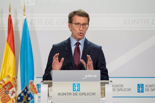 El titular del Goberno galego, Alberto Núñez Feijóo, en la rueda de prensa posteiror a la reunión semanal de su Gobierno