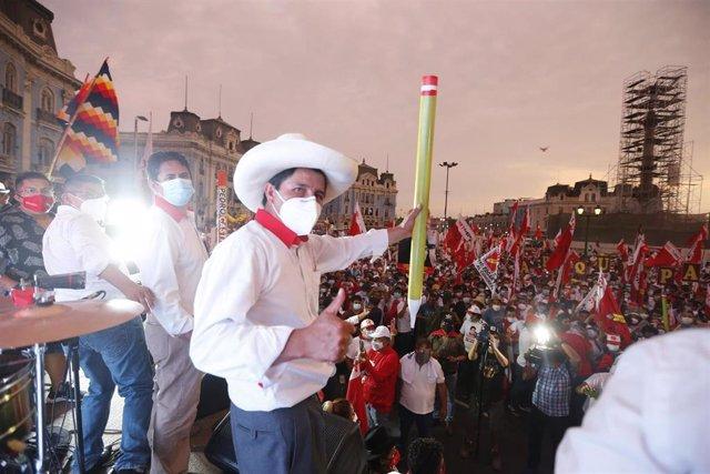 Archivo - Pedro Castillo, candidato presidencial por Perú Libre