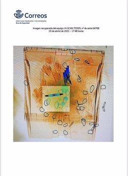 Archivo - Imagen del escáner de Correos en la primera tanda de cartas con balas remitidas a Fernando Grande-Marlaska, María Gámez y Pablo Iglesias