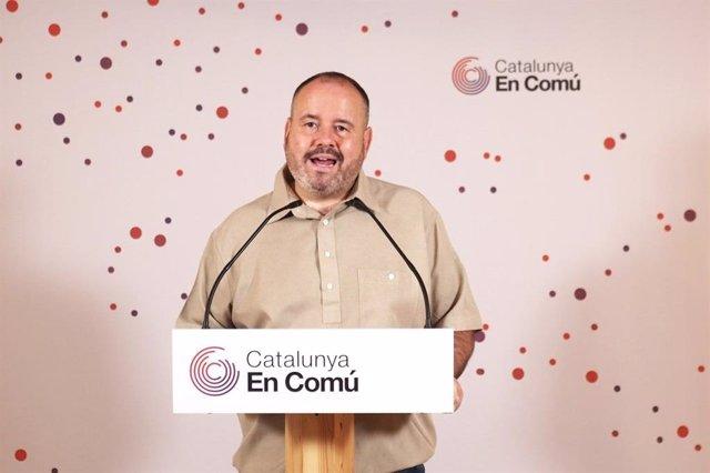 El portavoz de los comuns y diputado en el Congreso, Joan Mena, en rueda de prensa telemática