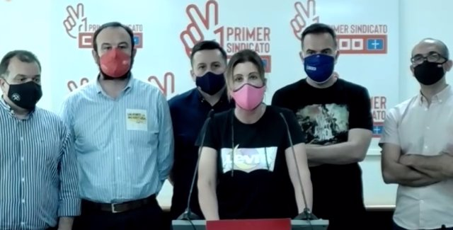 Rueda de prensa virtual de representantes sindicales de UGT y CCOO de Asturias