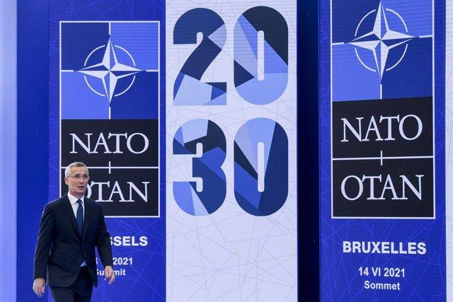El secretario de la OTAN, Jens Stoltenberg, llega a la cumbra de la organización en Bruselas